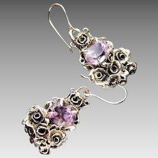Earrings Sterling Silver Facet Amethyst Roses Earrings art nouveau style