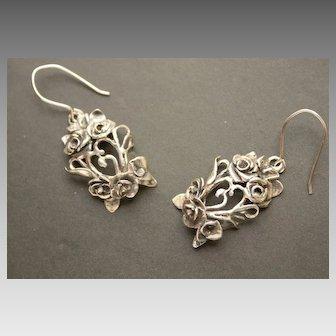 Earrings Sterling Silver Roses Earrings art nouveau style
