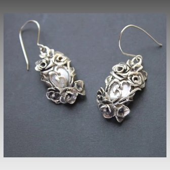Earrings Sterling Silver Roses Natural mother-of-pearl Earrings art nouveau style