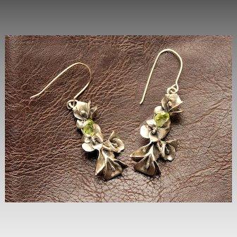 Earrings Sterling Silver Lilies Facet Green Peridots Earrings art nouveau style