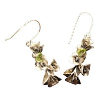 Earrings Sterling Silver Lilies Facet Green Peridots Earrings art nouveau style