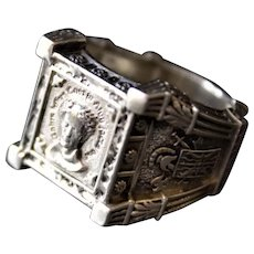 Men's Sterling Silver Ring Caesar Oxidized  Ring Antique Look