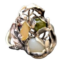 Ring Sterling Silver Peridot Milk Opal Coffee Opal Ring