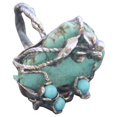 Art Deco style Ring Sterling Silver Turquoise Ring One-Of-A-Kind