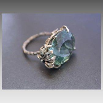 Sterling Silver Ring Green Amethyst Ring
