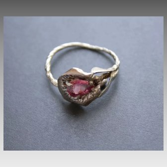 Ring Sterling Silver  Pink  Tourmaline Ring Size : 11