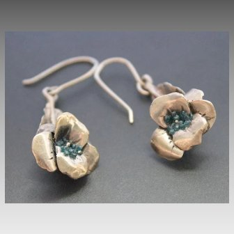 Earrings Sterling Silver Natural Blue Diamonds chips Earrings