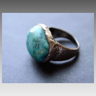 Ring Sterling Silver  Howlite Turquoise Color Ring