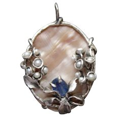 Pedant Sterling Silver Pearls Natural Facet Kyanite Nacre