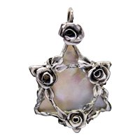 Pedant Magen David Sterling Silver Natural  Nacre