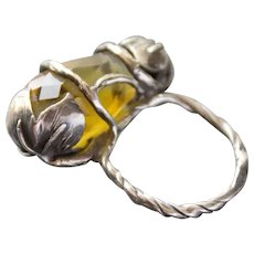 Sterling Silver   Ring One-Of-A-Kind Citrine Color quartz Ring