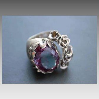 Sterling Silver sliding  Ring Czochralski Alexandrite Color Change Alexandrite Ring