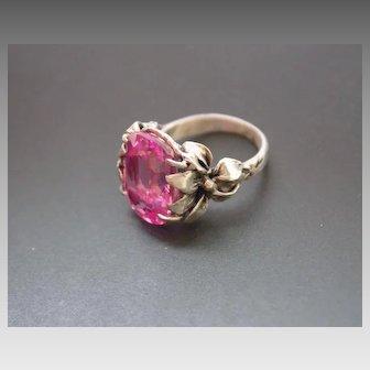 Ring Sterling Silver Pink Topaz Quartz Ring