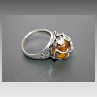 Ring Sterling Silver Natural Baltic Amber Ring