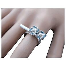 Ring  Sterling Silver Handmade Flower Ring Natural Blue Diamonds chips Pearls