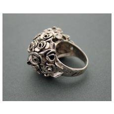 Ring  Sterling Silver Handmade Roses ғʀᴇᴇ sʜɪᴘᴘɪɴɢ