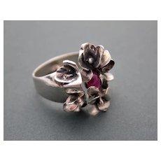 Sterling Silver ✿Art Nouveau Style✺ Ring Ruby ғʀᴇᴇ sʜɪᴘᴘɪɴɢ