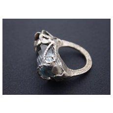 ❀Sterling Silver Ring✿Topaz Quartz ✾ Aquamarine Colors ғʀᴇᴇ sʜɪᴘᴘɪɴɢ