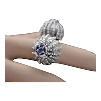 Ring Sterling Silver Natural Tanzanite Natural Sapphire Poppy heads Ring