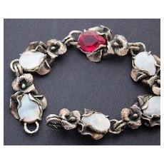 Bracelet Sterling Silver Red Topaz Natural Mother of Pearl