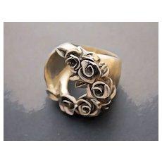 Ring  Sterling Silver  Roses Ring ғʀᴇᴇ sʜɪᴘᴘɪɴɢ