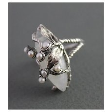 Ring  Sterling Silver  Moonstone Ring Pearls ғʀᴇᴇ sʜɪᴘᴘɪɴɢ