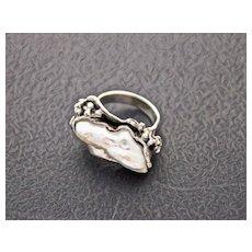 Ring  Sterling Silver  Natural Nacre Ring  ғʀᴇᴇ sʜɪᴘᴘɪɴɢ