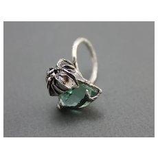 Ring  Sterling Silver Green Amethyst Ring ғʀᴇᴇ sʜɪᴘᴘɪɴɢ