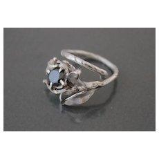 Ring  Sterling Silver Black Diamond (Lab.) Ring ғʀᴇᴇ sʜɪᴘᴘɪɴɢ
