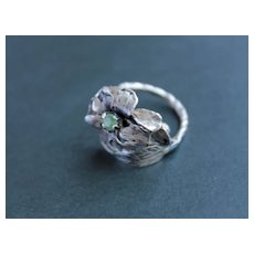 Ring  Sterling Silver  Natural Green Sapphire Ring ғʀᴇᴇ sʜɪᴘᴘɪɴɢ