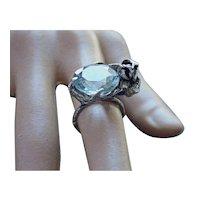 Ring  Sterling Silver  Topaz Quartz Aquamarine Color ғʀᴇᴇ sʜɪᴘᴘɪɴɢ