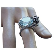 Ring  Sterling Silver  Topaz Quartz Aquamarine Color ғʀᴇᴇ sʜɪᴘᴘɪɴɢ