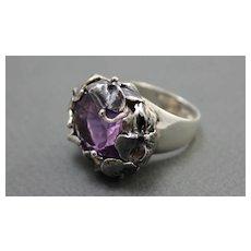 Ring  Sterling Silver  Amethyst Ring ғʀᴇᴇ sʜɪᴘᴘɪɴɢ