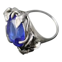 Ring  Sterling Silver  Tanzanite Quartz Ring ғʀᴇᴇ sʜɪᴘᴘɪɴɢ