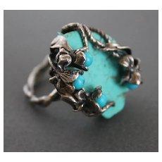 Ring  Sterling Silver  Turquoise Ring ғʀᴇᴇ sʜɪᴘᴘɪɴɢ