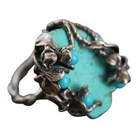 Ring  Sterling Silver  Turquoise Ring ғʀᴇᴇ sʜɪᴘᴘɪɴɢ