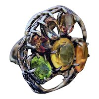 Ring Sterling Silver Imperial Topaz Opal Citrine Peridot Hand-sculpted