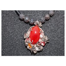 Necklace Sterling Silver Pedant  Natural Nacre Huge Carnelian Opal Facet Carnelian
