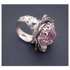 Ring Sterling Silver Pink Topaz Ball Quartz Ring
