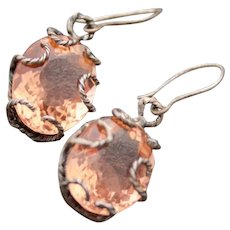 Earrings  Oxidized Sterling Silver  Peach Pink Morganite Color Quartz