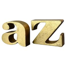 "Signed C. Jere Gilt Gold Leaf Cast Iron Bookends ""A to Z"" Mid Century 1970"