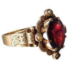 Antique Victorian 14k Gold Bohemian Garnet Ring with Ribbon Motif Band