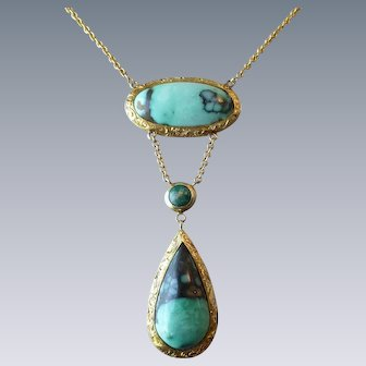Antique 10k 14k Yellow Gold Chased Bezel Turquoise Drop Necklace