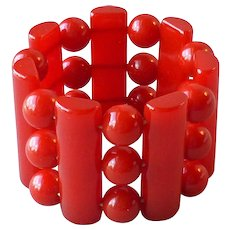 Vintage Cherry Red Catalin Bakelite Wide Stretch Bracelet