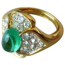 Vintage Signed Trifari Cabochon Faux Emerald Glass Rhinestones Ring Jewels of India
