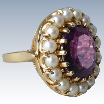 Vintage Estate 14k Yellow Gold Cultured Pearl & Synthetic Purple Sapphire Halo Cocktail Ring
