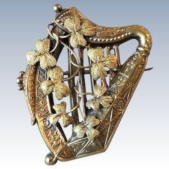 Antique Victorian 14k Yellow Gold Small Irish Harp and Shamrock Pin