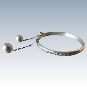 Antique 800 Silver Turquoise Cabochon Hinged Bangle Bracelet