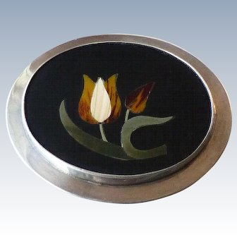 Vintage Sterling Pietra Dura Inlaid Stone Tulips Pin Brooch