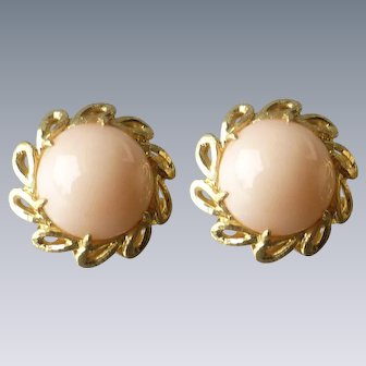 Vintage Italian 18k Gold Natural Light Peach Pink Coral Cabochon Clip Earrings